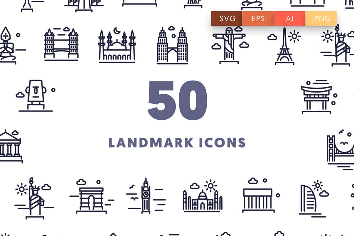 Thumbnail for 50 Landmark Outline Icons
