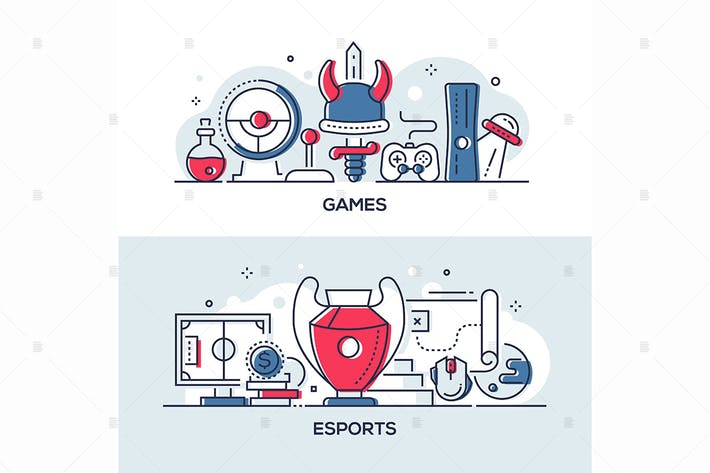 Thumbnail for Games and esports - line design style illustration