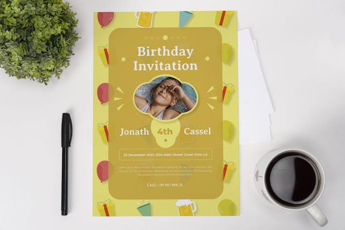 Thumbnail for Yellow Birthday Invitation