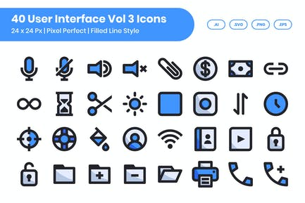 40 User Interface Vol 3 Icons Set - Filled Line
