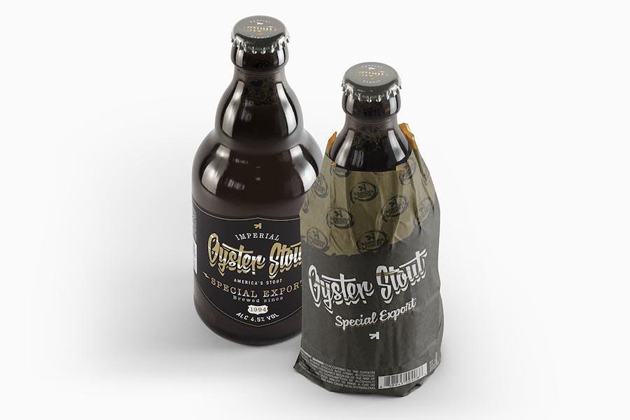 Steinie Beer Black Bottle Mockup