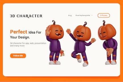 3D Halloween Scarecrow Character set