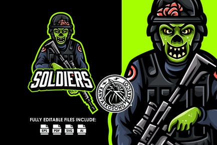 Zombie Soldier Logo Template