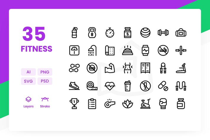 Thumbnail for Fitness - Icons Pack
