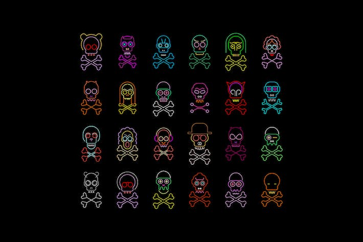 Thumbnail for Skull and Crossbones Set of Neon Vector Icons