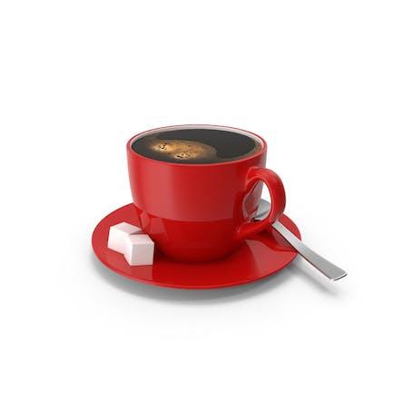 Kleine Kaffeetasse mit rotem Teller