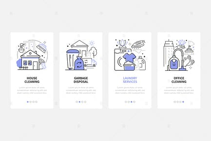 Cleaning Services - Modern Line Design Style Icons