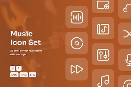 Music Dashed Line Icon Set