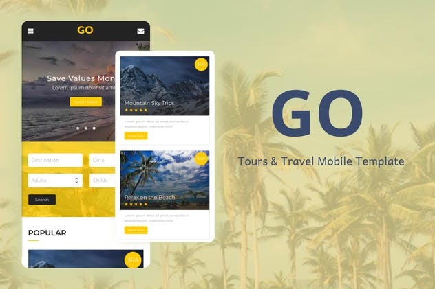 Go - Tours & Travel Mobile Template