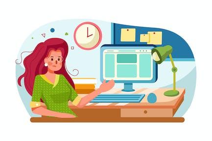 Manager arbeitet am Computer mit zerzausten Haaren