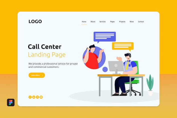 Thumbnail for Cacen - Call Center Landing Page 1
