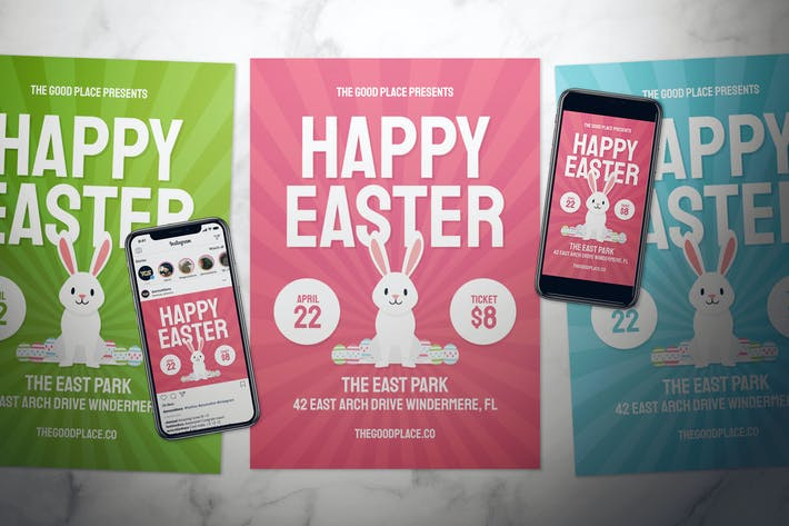 Cover Image For Happy Easter Flyer Set - 3 in 1