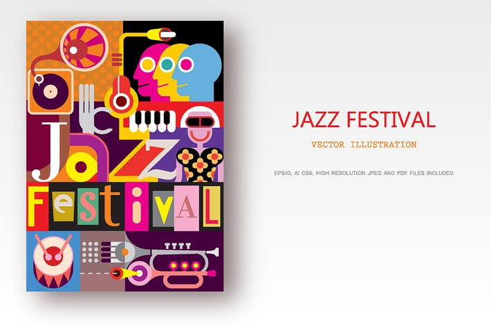 Thumbnail for Jazz Festival Poster Design, vector illustration
