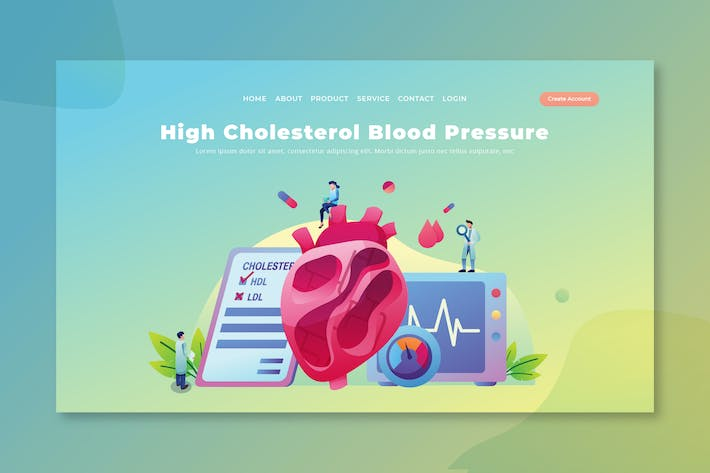 Thumbnail for High Cholesterol - PSD and AI Vector Landing Page