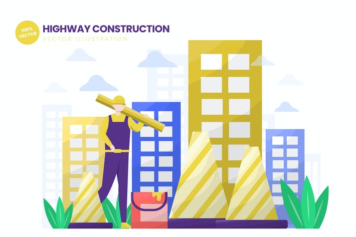Thumbnail for Highway Construction Flat Vector Illustration