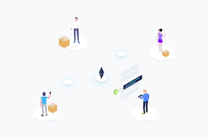 Blockchain Supply Chain Isometric Illustration