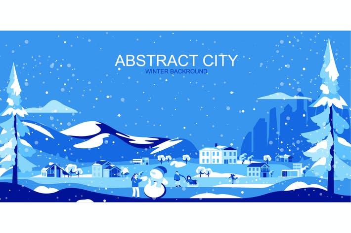 Thumbnail for Winter City Vector Illustration Header Website