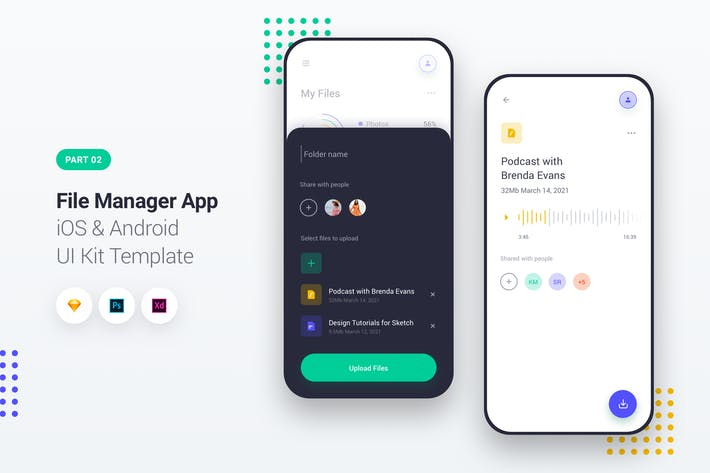 Thumbnail for File Manager App iOS & Android UI Kit Template 2