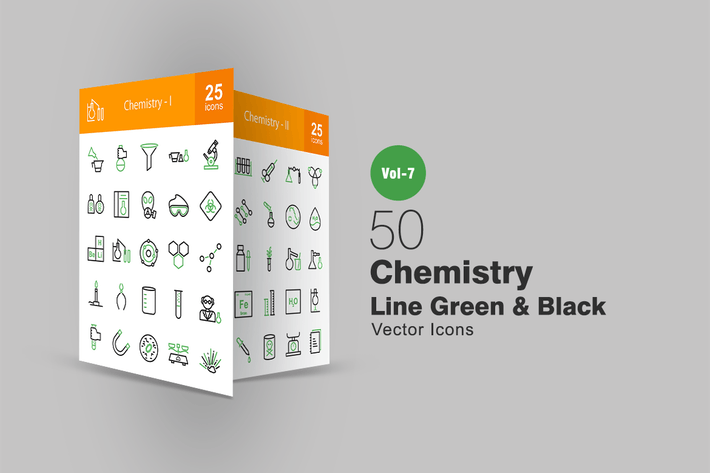 Thumbnail for 50 Chemistry Line Green & Black Icons