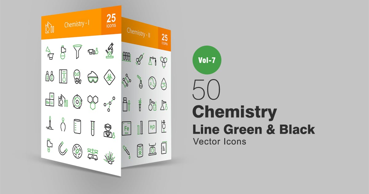 Download 50 Chemistry Line Green & Black Icons by IconBunny
