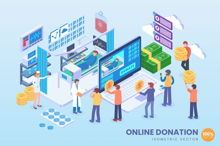 Thumbnail for Isometric Online Donation Vector Concept