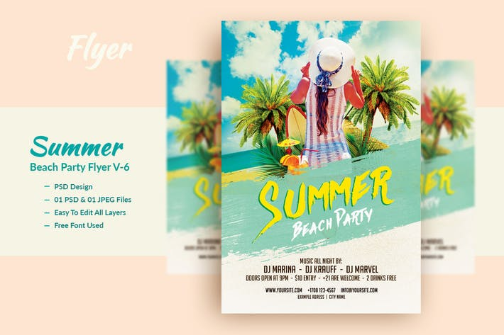 Thumbnail for Summer Beach Party Flyer Template V-6