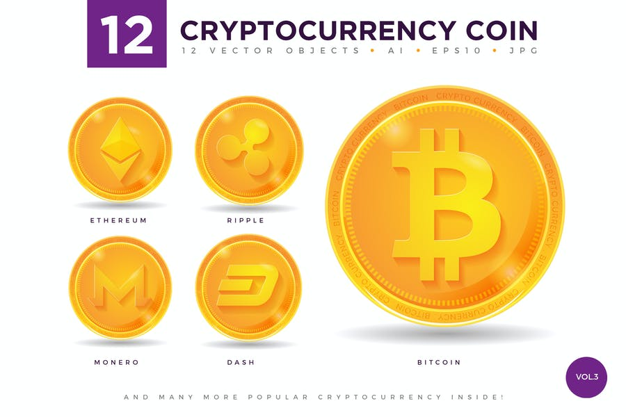 12 Crypto Currency Coin Vector Illustration Set 3