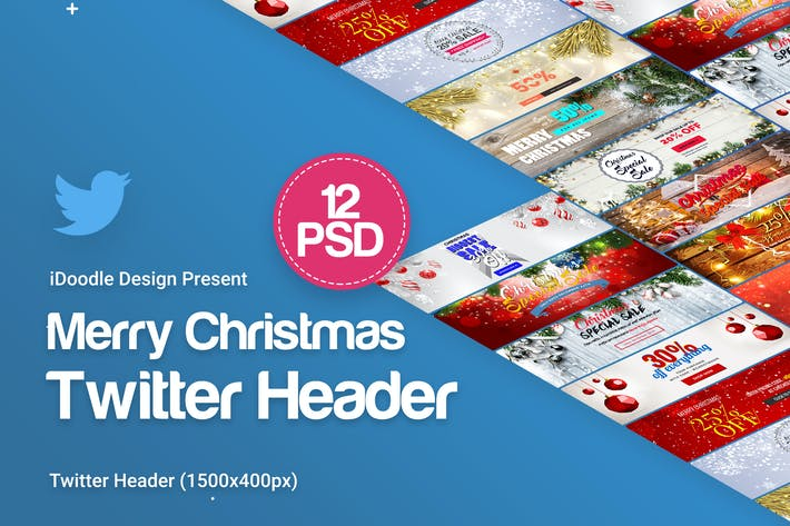 Thumbnail for Merry Christmas Twitter Header - 12PSD