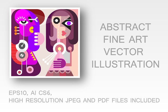Thumbnail for Abstract Portrait of Two Young Women vector image