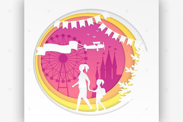 Cover Image For Amusement park - vector paper cut illustration