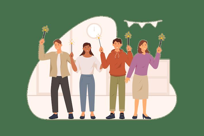 Группа людей празднует Новый год Illustrator