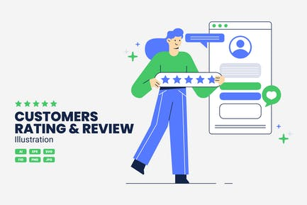 Customers Rating and Review Illustration