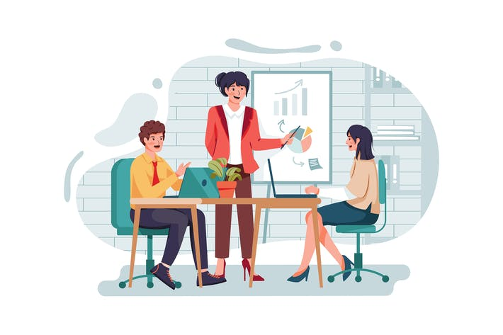Thumbnail for Businesswoman giving presentation to her colleague