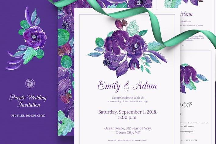 Thumbnail for Set d'invitation de mariage violet