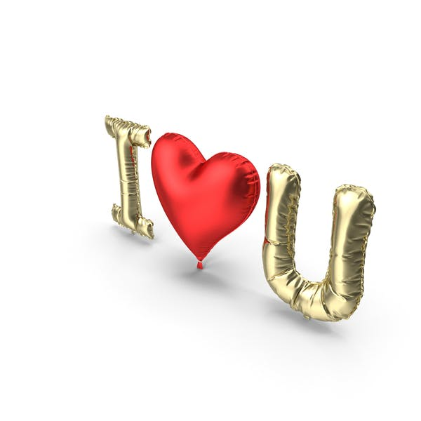 Thumbnail for I Love You Gold and Red Balloons