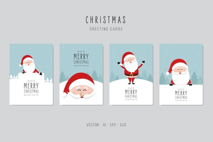 Thumbnail for Christmas Santa Claus Greeting Vector Card Set