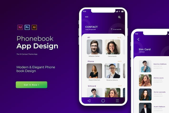 Thumbnail for Purple Phonebook | App Template