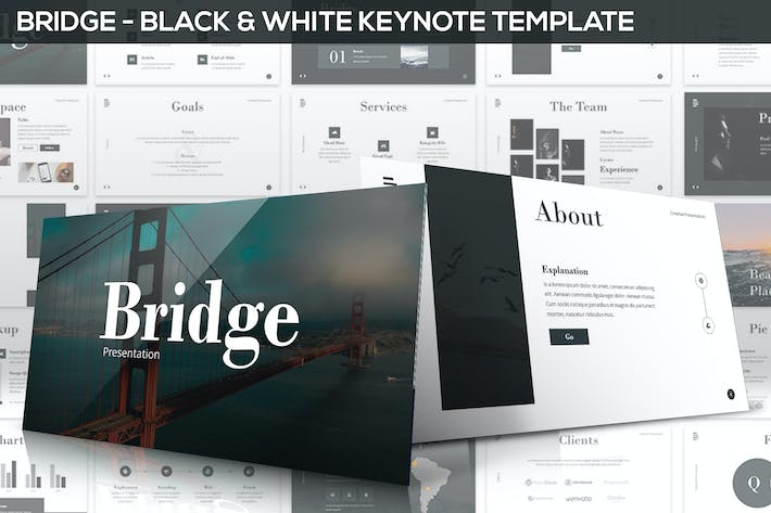 Thumbnail for Bridge - Black & White Keynote Presentation