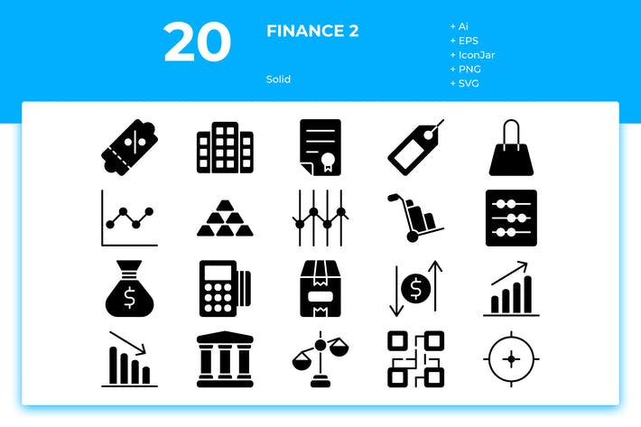 Thumbnail for 20 Finance Icons Vol. 2 (Solid)