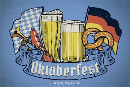 Vintage Hand Drawn of Oktoberfest Design