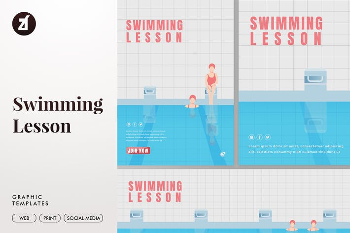 Thumbnail for Swimming lesson graphic templates