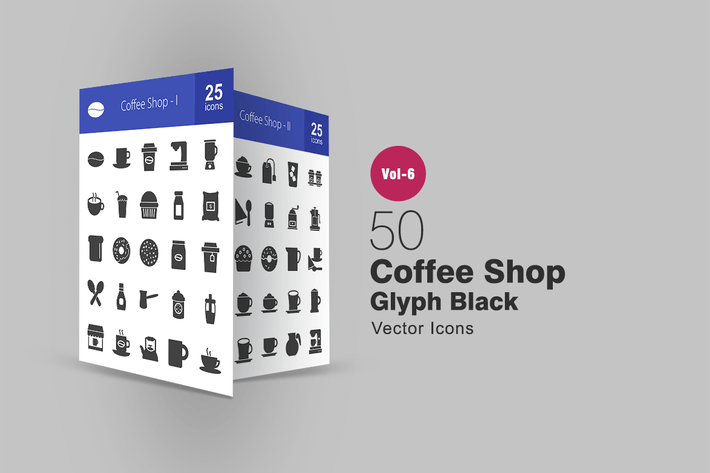 Thumbnail for 50 Coffee Shop Glyph Icons