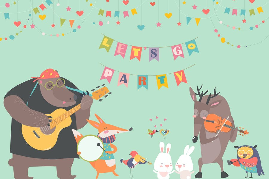 Cute animal music band. Cartoon animals playing