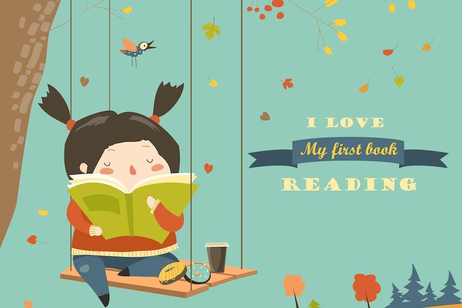 Lindo chica balanceo y la lectura de un Libro