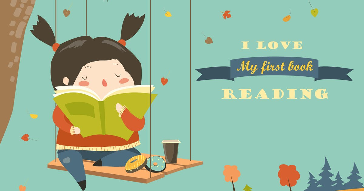 Download Cute girl swinging and reading a book by masastarus