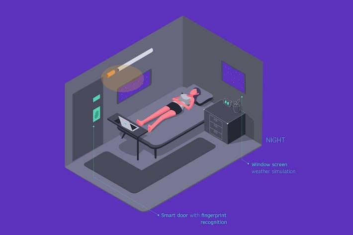 Thumbnail for Smart Room Isometric Illustration