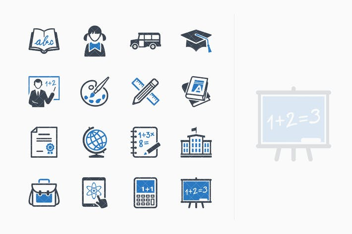 Thumbnail for Education Icons Set 1 - Blue Series