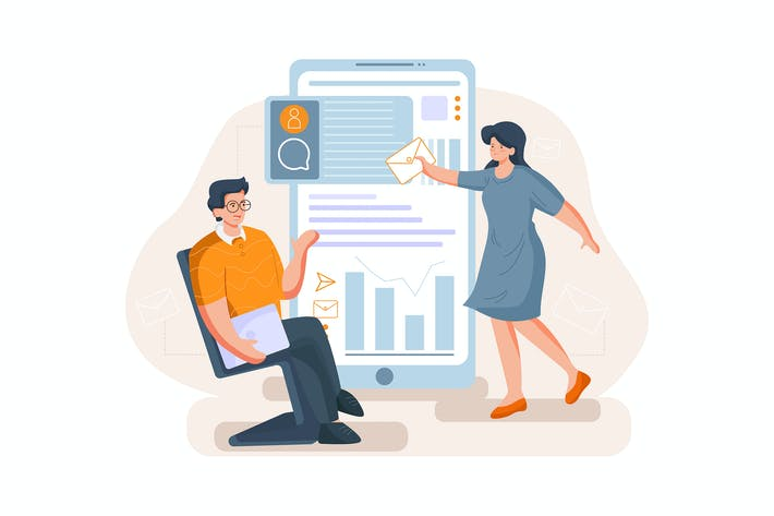 Thumbnail for Dating concept - Social network Illustration