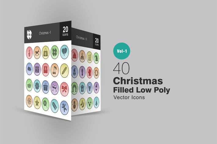 Thumbnail for 40 Weihnachts-Gefüllte Low-Poly-Icons