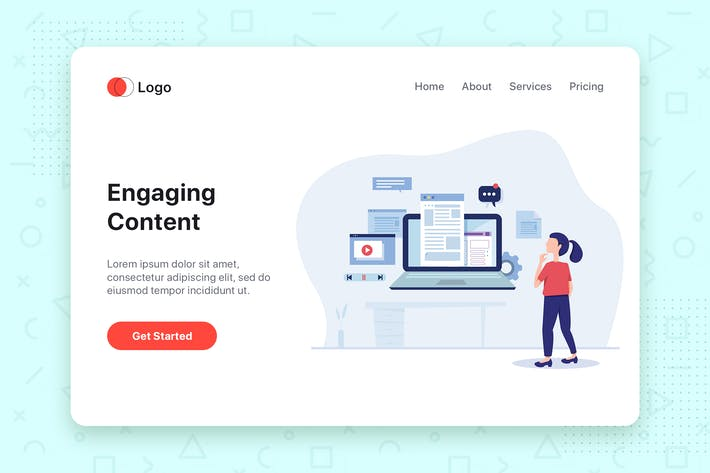 Thumbnail for Engaging Content flat vector illustration concept